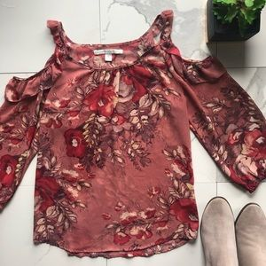 Lauren Conrad Pink Floral Cold Shoulder Blouse